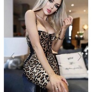Hot miami styles leopard bustier print dress